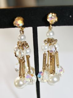 Vintage Pearl Drop Earrings | Vintage Pearl Crystal Earrings Drop Dangle Bridal 1950s Jewelry Signed ...