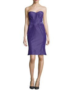 T93QN Zac Posen Strapless Cross-Seam Dress, Plum