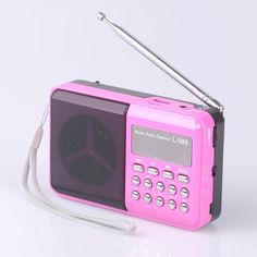 Mfine Portable Mini USB FM Radio Speaker Music Player TF Card For PC iPod Phone (988 Pink) -- Details can be found by clicking on the image.