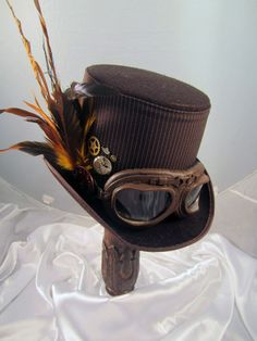 Steampunk Hat- Men's Brown Topper with Brown Aviator Goggles & Clock Parts