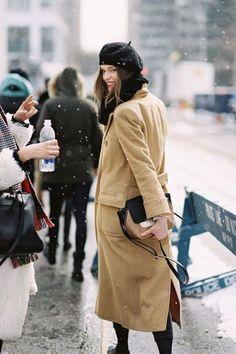 camel coat & beret | photo by vanessa jackman winter snow in NY