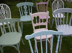 mismatched vintage dining chairs in autentico chalk paint by emily rose vintage www.emilyrosevintage.co.uk