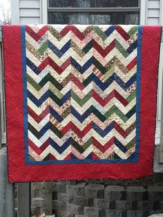 Patriotic Country Patchwork Chevron Quilt by gallagherquilting