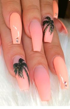 Peach Nails With Tropic Print ★ Easy, cute and fun summer nail designs are waiting for you to get inspired with. Make sure that you greet the beach season right! nails 57 Special Summer Nail Designs For Exceptional Look Cute Acrylic Nail Designs, Best Acrylic Nails, Beach Nail Designs, Tropical Nail Designs, Designs For Nails, Acrylic Nails Autumn, Tropical Nail Art, Coffin Nails Designs Summer, Cute Summer Nail Designs