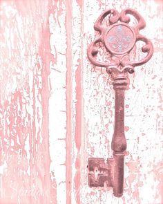 Shabby Chic Photography, Still Life Photography, Romantic,  Wedding Gift, Old Key, Rustic Art, Skeleton Key, Farmhouse, Home Decor, Pink Art...
