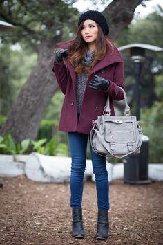 burgundy peacoat & pom pom beanie  #coat #peacoat #winter