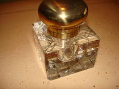 Beautiful Crystal and Brass Inkwell From Germany