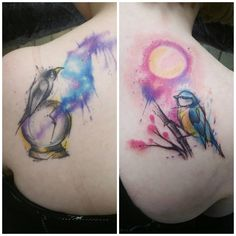 """""""Crow is healed, bluetit fresh with one on each shoulder enjoyed these! #tattoo #watercolours #watercolour #watercolourtattoo #birdtattoo #crowtattoo…"""""""