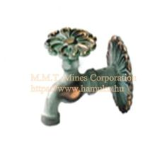 "Kerti Csap virág formával.  Flower, copper pin. Each pin is 1/2 ""threaded. Wall fountain brings (rosettes can be attached to E) Manufacture of copper-garden taps. I fished Hungary. Rosettes, Fountain, Copper, Wall, Flowers, Water Well, Floral, Water Fountains, Royal Icing Flowers"