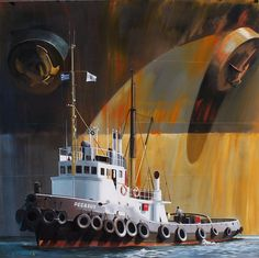 Remolcador Pegasus, Grecia - Dirk Verdoorn Nautical Marine, Nautical Art, Admiral Of The Fleet, Tanker Ship, Ocean Cruise, Ship Drawing, Merchant Marine, Tug Boats, Great Paintings