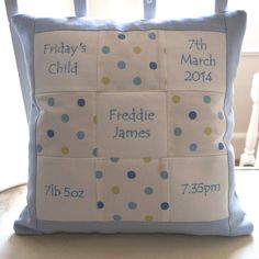 Our individually handmade appliqued Memory Cushion** is embroidered with names and birth details, and comes complete with a feather pad.Also available in pink star. Take a look at our other Memory Cushions featuring the classic pink, blue and natural designs. As well as the Beatrix Potter and Flower Fairy designs.<em><strong>**Please note if you order a Memory Cushion it will not be delivered until January 2015**</strong></em> This gorgeous memory cushion is a brand new design by Tuppenny…