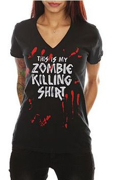 Goodie Two Sleeves Zombie Killing V-Neck Girls T-Shirt