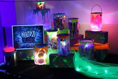 Graffiti & Glow themed custom candy bar with cellophane bags for guests to build their own take home treat!