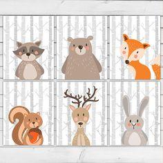Woodland nursery wall art Woodland Animal set Woodland Nursery decor Fox Bear Raccoon animal nursery art nursery prints Digital printable
