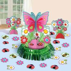 Butterflies Garden Girl Party Table Decorations Kit from Australia's party supplies shop. Party Table Decorations, Decoration Table, Party Themes, Party Ideas, Butterfly Party, Butterfly Decorations, Owl First Birthday, Ideas Para Fiestas, Event Decor