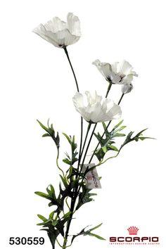 Искусственный цветок Мак полевой, белый - Цветы искусственные - SCORPIO - Магазин подарков, декора, иллюминации