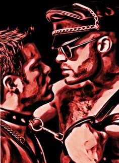 Owned, ACRYLIC & INK ON CANVAS, 18 inches x 24 inches (PAINTING BY MIKESBLISS.COM) inch paint, art leather, homo art, gay bondage, 18 inch, 24 inch