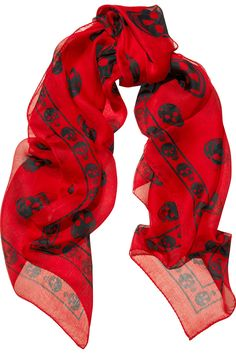 Alexander McQueen|Skull-print silk-chiffon scarf|NET-A-PORTER.COM