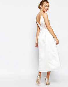 Image 2 of Jarlo Midi Prom Dress In Sateen With Mesh Inserts At Waist