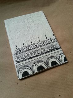Diy notebook in rice paper. Zentangle palace