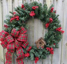 Simple Lodge Wreath Holiday Wreaths Rustic by HornsHandmade