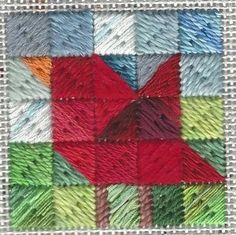Based on a quilt block & using stash threads, this makes a charming twinchy (2 inch square) ornament. Freed design by needlepoint expert Janet M. Perry.
