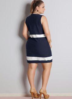 Vestido Bicolor Plus Size (Azul Marinho e Branco)