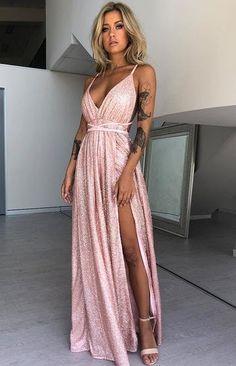 fa8d3dec974 Jasmine Glitter Formal Dress Rose Gold Sparkle Next Dresses, Glam Dresses,  Formal Dresses,