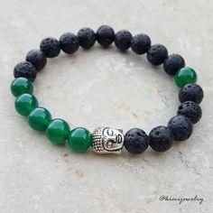 Gelang Batu Natural 8mm Lava & Jade Green / Buddha Bracelet / Gelang Unisex
