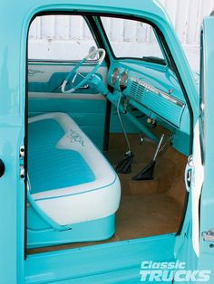 1950's Chevy truck. LOVE the color omg an the matching interior!!