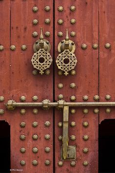 brass door knocker and lock - Meknes, Morocco by Phil Marion, via Flickr