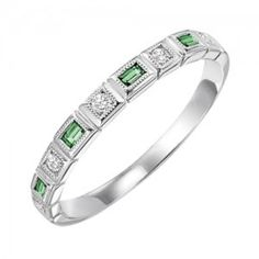 RINGS - 10k White Gold Diamond And Emerald Cut Emerald Birthstone Ring