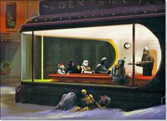 "Hahaha! Love this weird mash up of Star Wars and Hopper's ""Nighthawks"" painting."