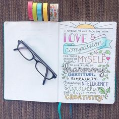 """My bullet journal """"title"""" page with some of my core values I want to focus on."""