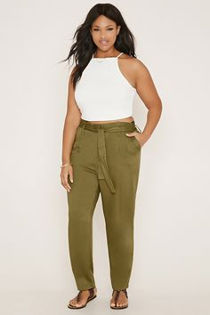 Plus Size Belted Pants