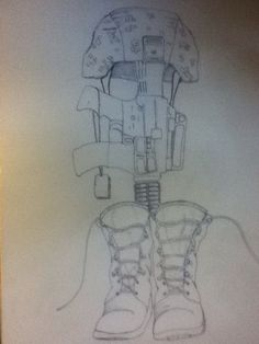 Boots gun helmet statue go back gallery for military for Oif tattoo designs