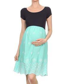 Love this Chris & Carol Navy & Mint Maternity Babydoll Dress on #zulily! #zulilyfinds
