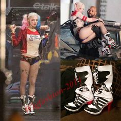 Movie Harley Quinn DC Suicide Squad Boots Heels Shoes Cosplay Halloween Custom #Aicos #CosplayHalloweenThemeparty
