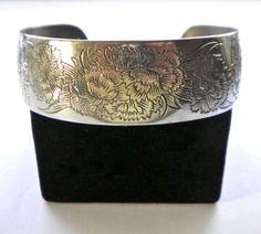 Kirk Stieff USA Pewter Cuff Bracelet January Flower by JoolsForYou