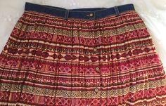 Summer Prairie Red Cotton Skirt Denim Western Boho Country Cowgirl Rodeo Size 12 #StJohnsBay #PeasantBoho