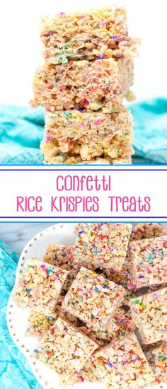 Confetti Rice Krispies Treats - your favorite cereal treats get fancy with the addition of rainbow sprinkles. via Your favorite cereal treats get fancy with the addition of rainbow sprinkles. Brownie Recipes, Chocolate Recipes, Cookie Recipes, Rice Krispy Treats Recipe, Krispie Treats, Best Dessert Recipes, Easy Desserts, Rainbow Desserts, Breakfast Recipes