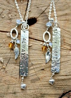 Always in my heart. rustic bar necklace. In memory of a loved one with their birth stone. So cute! Mermaid tears.