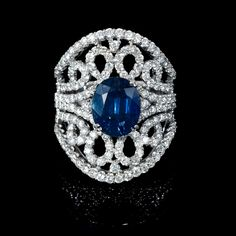 1.95ct Diamond and Blue Sapphire 18k White Gold Ring