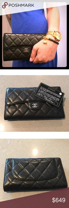 Chanel Classic Flap Quilted Wallet This Chanel Classic Flap Quilted Wallet is a timeless piece fit for any closet. The wallet is composed of black Italian lamb skin leather and has a burgundy interior. It shows no significant signs of wear, and the wallet comes with its Chanel authenticity card and original box. CHANEL Bags Wallets