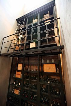Industrial style wine cellar