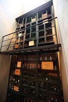Industrial style wine cellar