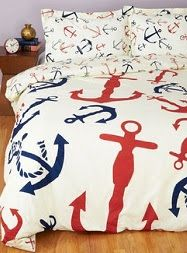 ModCloth Nautical Snooze Anchor Duvet Cover in Full, Queen. Its soft cream-colored weave is ad. Before you drift off to dreamland, slip this anchor-printed duvet cover - a ModCloth exclusive - over your coziest comforter. Nautical Bedding, Nautical Home, Unique Bedding, Luxury Bedding, My New Room, My Room, Anchor Bedroom, Anchor Bedding, Stylish Home Decor