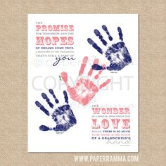 Christmas Gift for Grandparents // DIY Gift for Grandparents // A Grandchild's Hand... Typography Poem // 8x10 // Instant Download on Etsy, $10.00