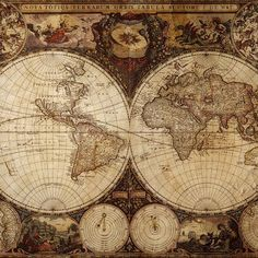 Old World Maps, Old Maps, Vintage Maps, Antique Maps, Art Encadrée, Decoupage, World Map Wallpaper, Framed Artwork, Wall Art