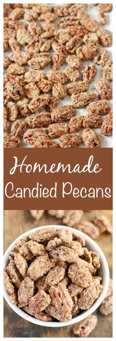 Homemade Candied Pecans are a wonderful recipe to make this holiday season. These candied pecans are SO easy to make. They are a perfect sweet snack or a great homemade gift for friends and family! Grab the recipe and start making these delicious homemade Pecan Recipes, Baking Recipes, Snack Recipes, Dessert Recipes, Snacks, Easy Candy Recipes, Dessert Ideas, Holiday Baking, Christmas Baking
